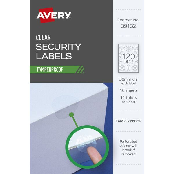 Avery Tamper Proof Labels 30mm 12 Sheets