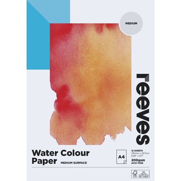 Reeves Watercolour Pad Cold Pressed Med 200gsm 12 Sheets A4