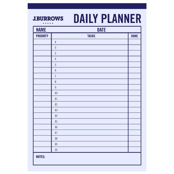 J.Burrows A4 Day Planner Pad 50 sheet