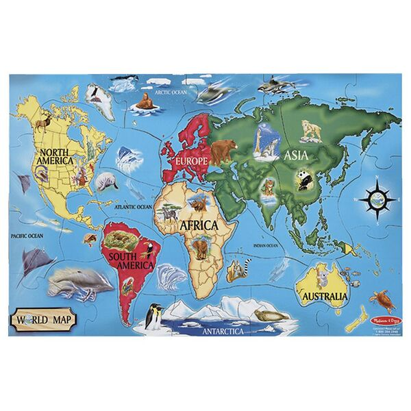 Melissa & Doug World Map Floor Puzzle 33 Piece