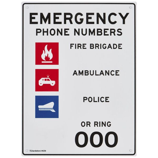 Sandleford Emergency Phone Numbers Sign 300 x 225mm