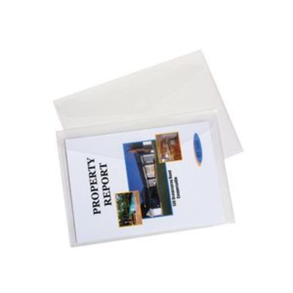 Marbig A4 Compact Document Wallet Clear 4 Pack