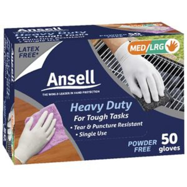 Ansell Heavy Duty Disposable Gloves 50 Pack
