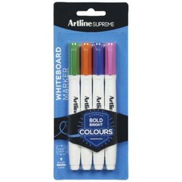 Artline Supreme Whiteboard Markers Bullet Brights 4 Pack