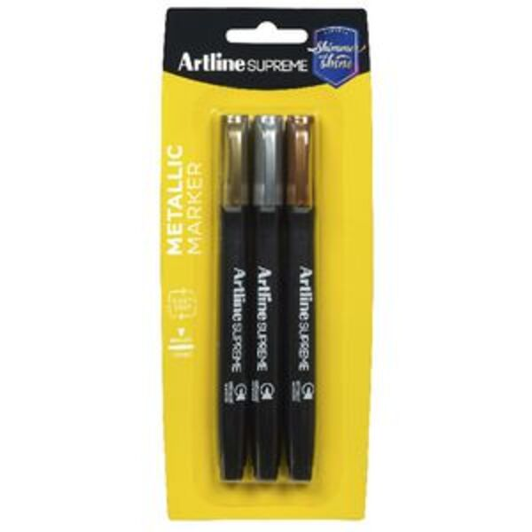 Artline Supreme Permanent Markers Metallic 3 Pack