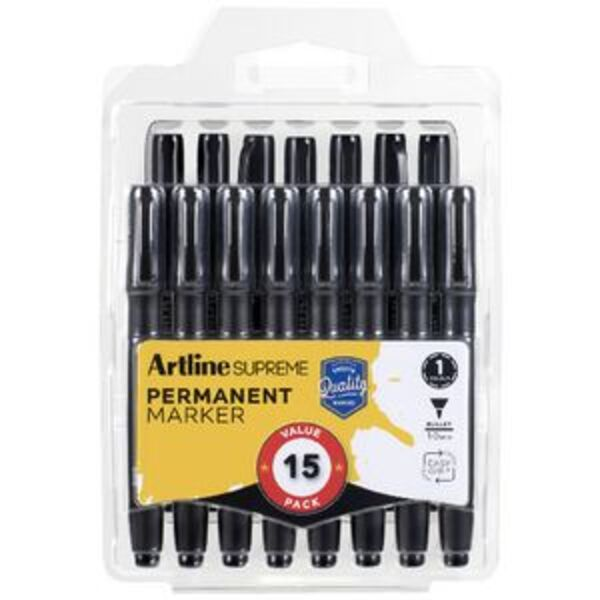Artline Supreme Permanent Markers Bullet Black 15 Pack