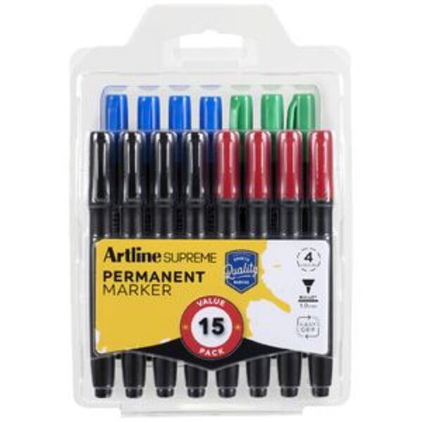 Artline Supreme Permanent Markers Bullet Assorted 15 Pack