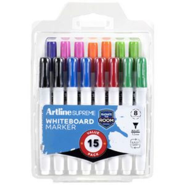 Artline Supreme Whiteboard Markers Bullet Assorted 15 Pack