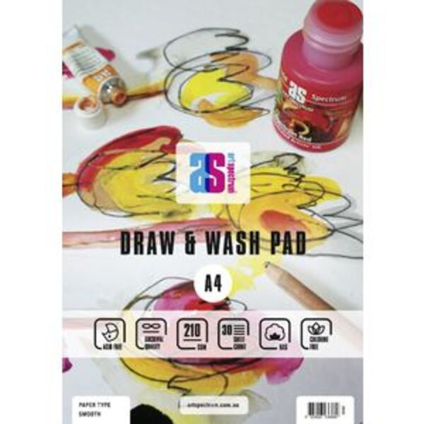 Art Spectrum A4 Draw and Wash Pad Smooth 210gsm 30 Sheets