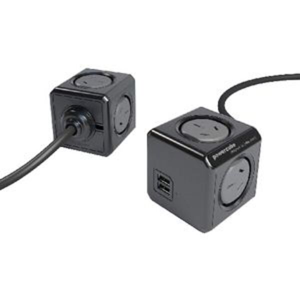 Allocacoc PowerCube 4 Power Outlet with 2 USB Ports 1.5m