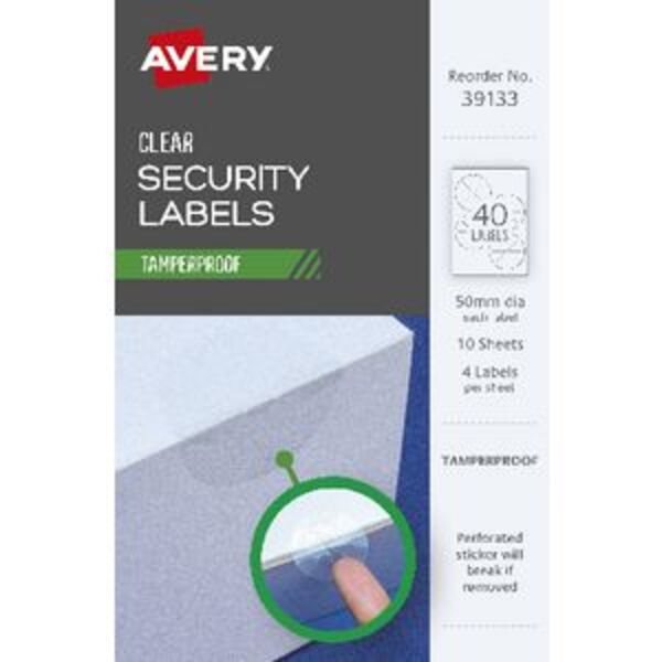 Avery Tamper Proof Labels 50mm 4 Sheets