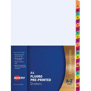 Avery Mylar Dividers A-Z Tabs Fluoro