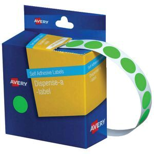 Avery Circle Dispenser Labels Fluoro Green 14mm 700 Pack