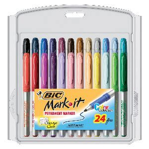 BIC Mark-it Fine Permanent Markers Assorted 24 Pack