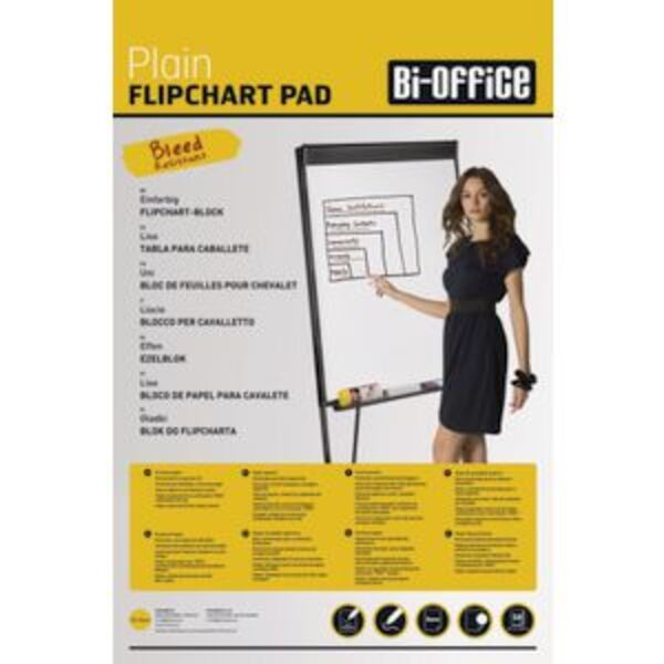 Bi-Office Flipchart Pad Plain 50 Sheet