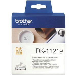 Brother DK 11219 Labels Round 12mm Diameter Black on White