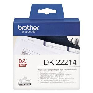 Brother DK 22214 Paper Tape 12mm wide Black on White