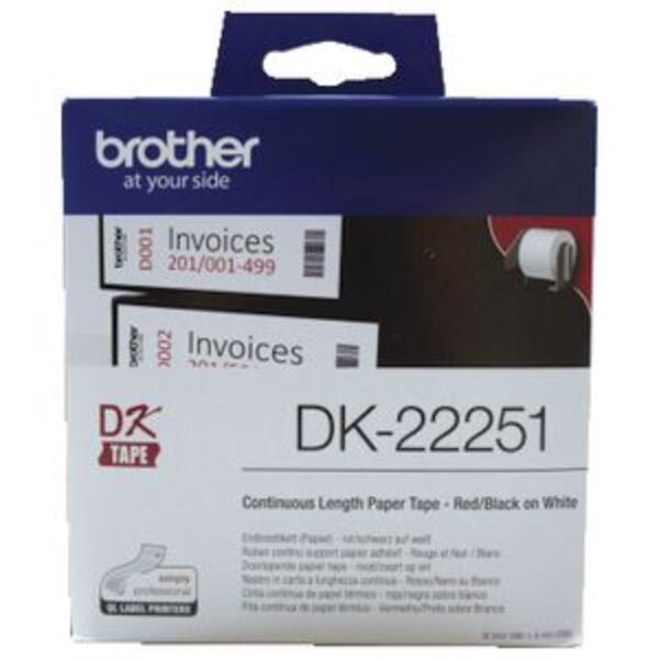 Brother DK 22251 Paper Tape 62mm wide Black & Red on White
