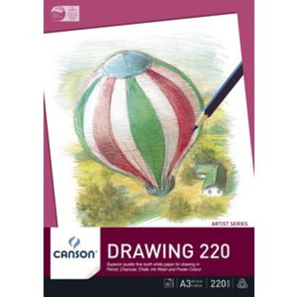 Canson Drawing 220 Pad 220gsm 25 Sheets A3