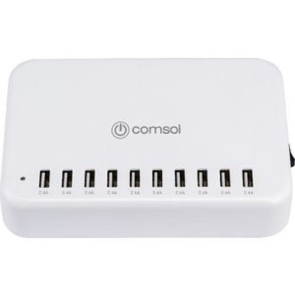 Comsol 10 Port USB Desktop Charger 24A/120W White