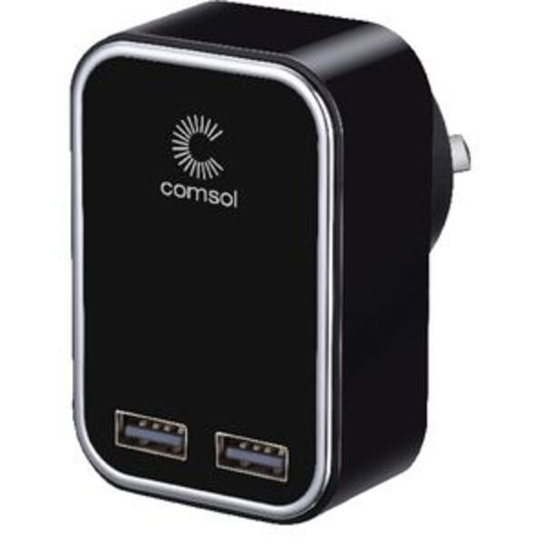 Comsol Dual Port USB Wall Charger 3.4A/17W Black