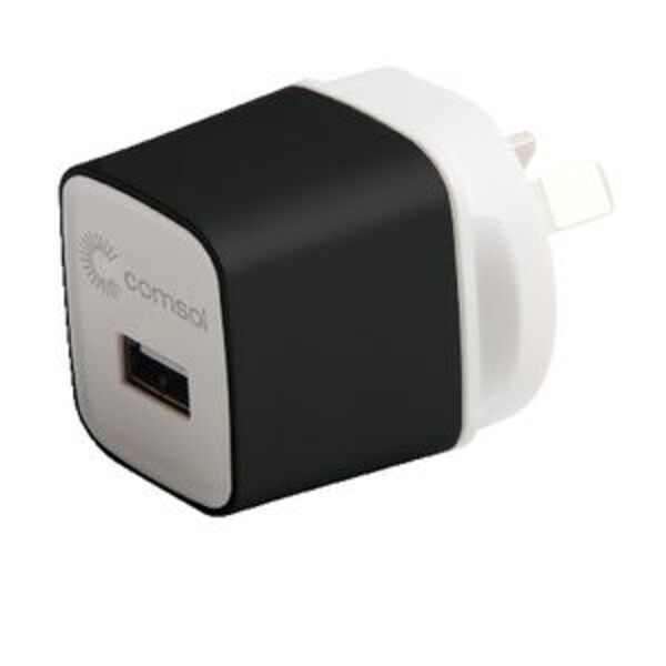 Comsol Single Port USB Wall Charger 2.4A/12W Black
