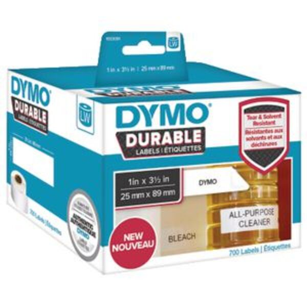 DYMO LW Durable Labels 25 x 89mm White Poly 700 Pack