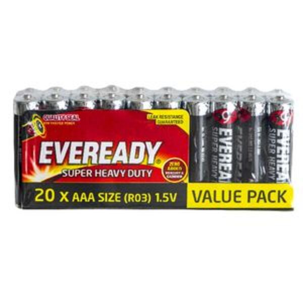 Eveready Super Heavy Duty AAA Batteries 20 Pack
