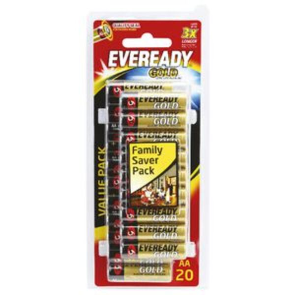 Eveready Gold Alkaline AA Batteries 20 Pack
