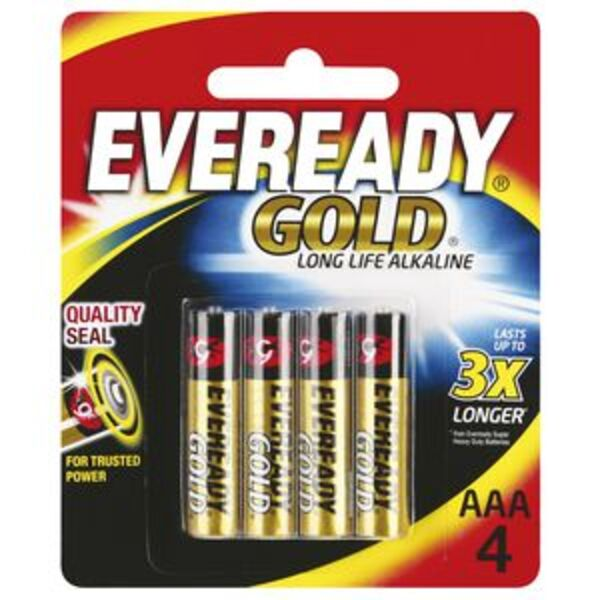 Eveready Gold Alkaline AAA Batteries 4 Pack