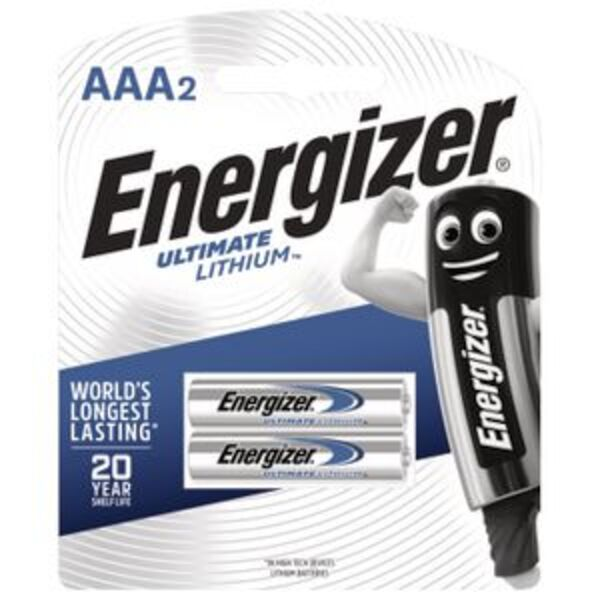 Energizer Ultimate Lithium AAA Batteries 2 Pack
