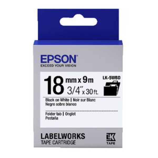 Epson LK Folder Tab Tape 18mm x 9m Black on White