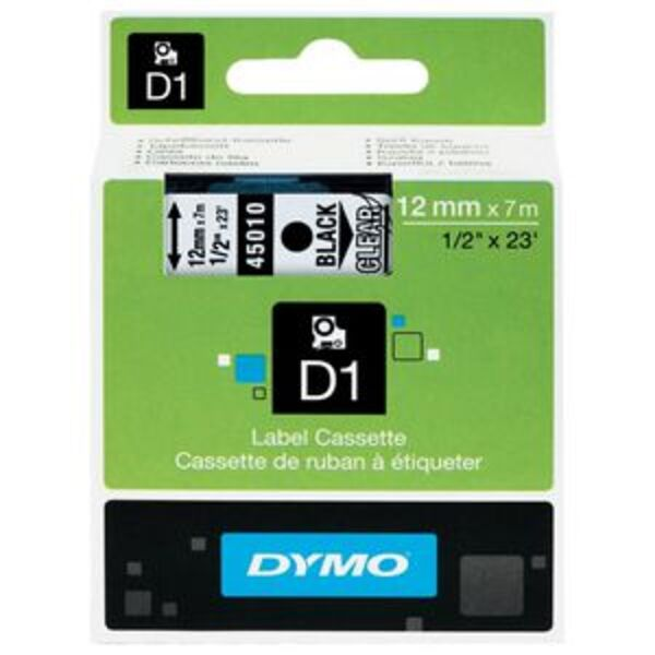 DYMO D1 Label Tape 12mm x 7m Black on Clear