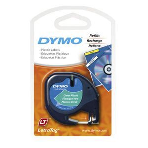 DYMO LetraTag Plastic Label Tape 12mm Black on Green