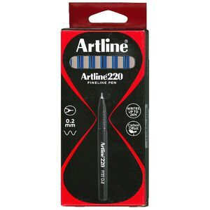 Artline 220 Fineliners 0.2mm Blue 12 Pack