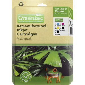 Greentec Canon CLI 521 Black and Colour 5 Ink Value Pack