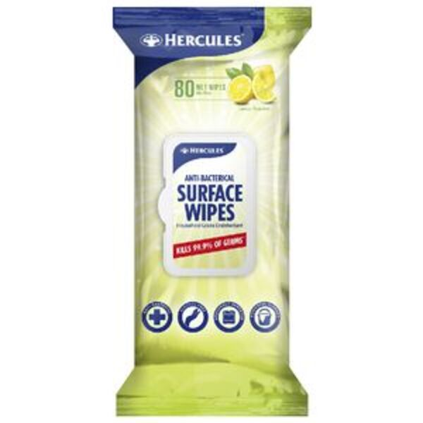 Hercules Antibacterial Wipes 80 Pack Lemon