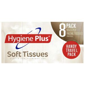 Hygiene Plus Facial Tissues Travel 8 Pack x 10 Sheets