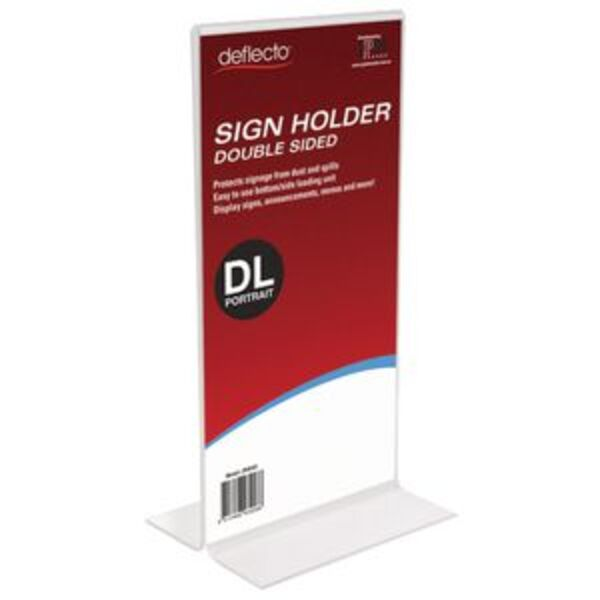 deflecto Double-sided T-Shape Sign Holder Portrait