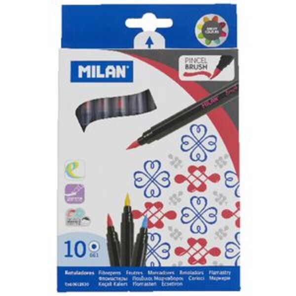Milan Water Based Brush Stroke Fibre Pens 10 Pack