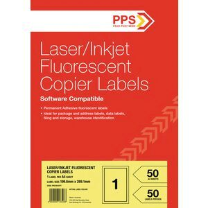 PPS 1UP Fluoro Yellow Labels 50 Pack