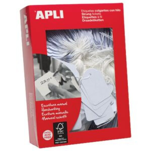 Apli Strung Tickets 50 x 70mm White 400 Pack