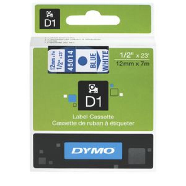 DYMO D1 Label Tape 12mm x 7m Blue on White