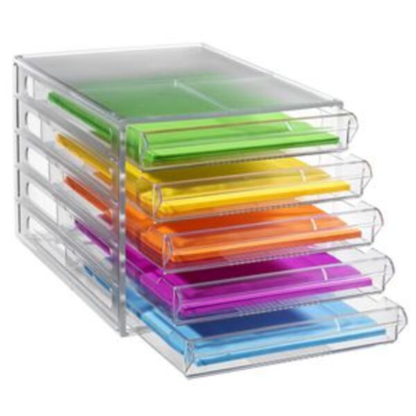 J.Burrows Desktop File Storage Organiser 5 Drawer Clear