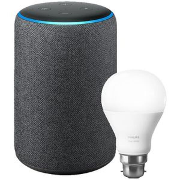Amazon Echo Plus 2nd Gen with Philips Hue B22 Bulb Charcoal