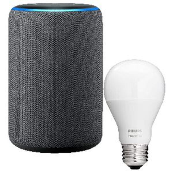 Amazon Echo Plus 2nd Gen with Philips Hue E27 Bulb Charcoal