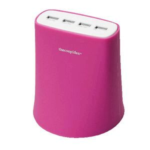 thecoopidea 4 USB Charging Station Pink
