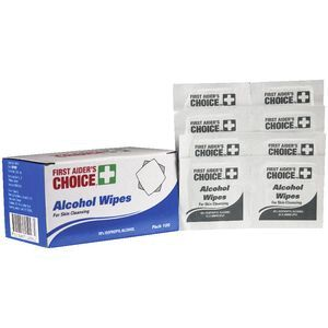 First Aiders Choice Alcohol Wipes 100 Pack