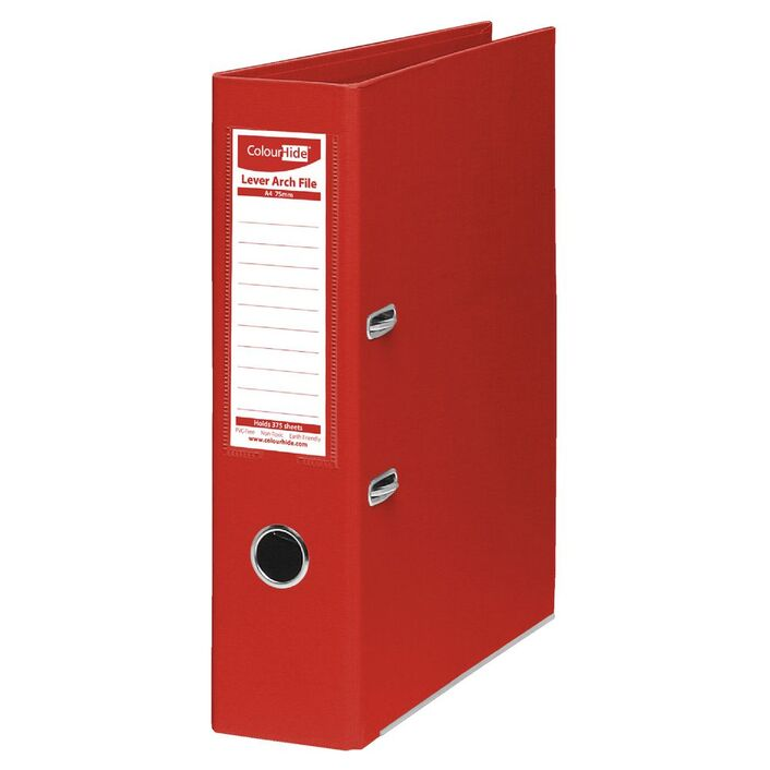 colourhide lever arch folder a4 2 ring pe red officeworks
