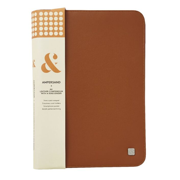 Ampersand a4 leather 4 ring zip compendium tan officeworks ampersand a4 leather 4 ring zip compendium tan reheart Choice Image